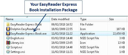 Screenshot of EasyReader Express file directory, with installation package created