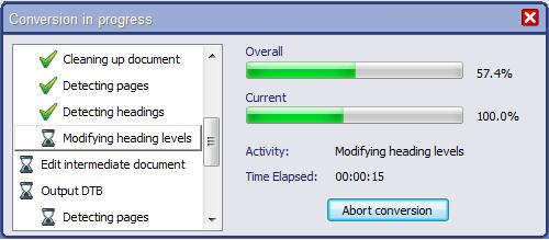 "Screenshot of the EasyConverter progress bar. In version 5.03, a new ""current action"" progress bar has been added to acompany the overall progress bar."