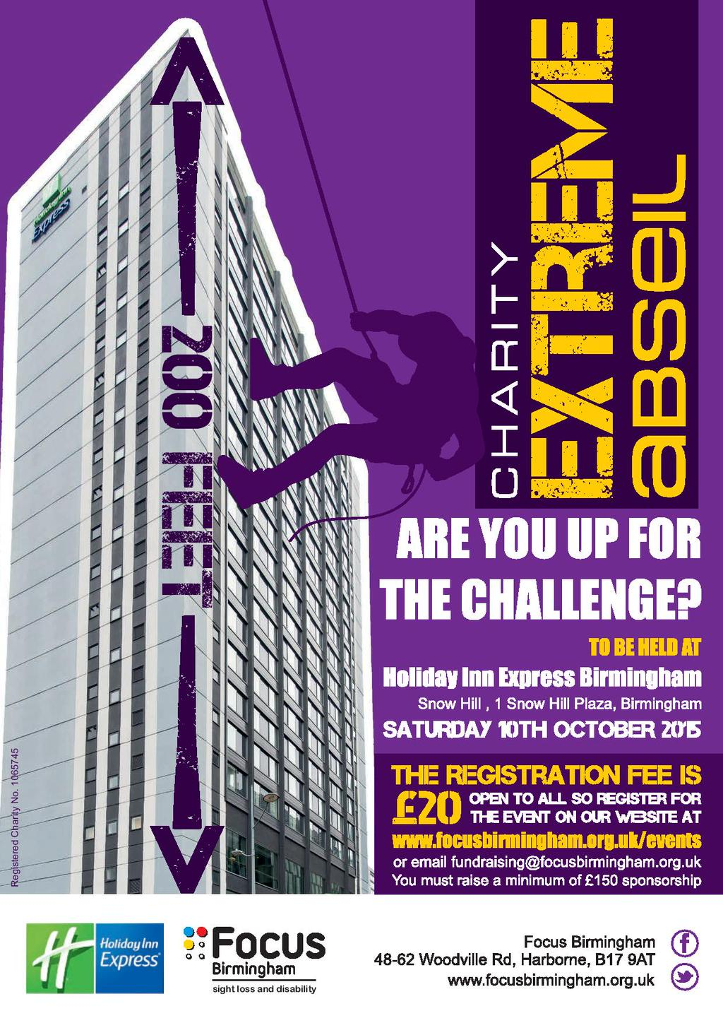 Poster with details around Focus Birmingham charity abseil