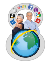 A globe, and two elderly people, one with her thumb up and the other with arms crossed looking confident. Behind them is a number 8, with icons representing different websites all around.