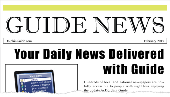 """Headline on a newspaper reading """"Your Daily News delivered with Dolphin Guide"""""""