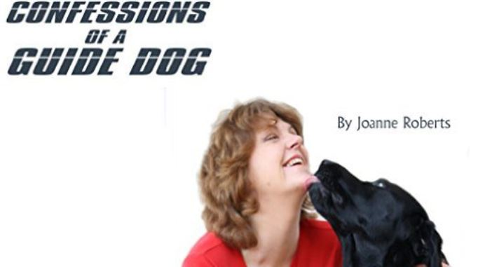 Joanne Roberts laughing with Uska the Guide Dog