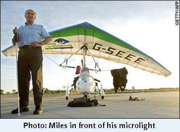 Photo: Miles in front of his microlight