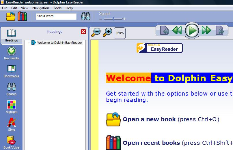 Image of the EasyReader version 6.01 user interface with the reset zoom button highlighted