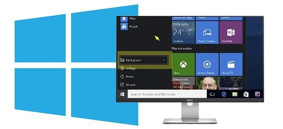 Windows 10 displayed on a monitor through SuperNova magnifier
