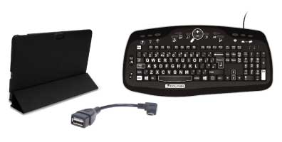 Photo of a tablet folio case, a USB adapter and the Dolphin Keyboard