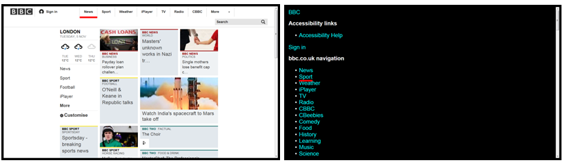 2 versions of the BBC website. One displaying the full website. The other displaying the website in text only mode.