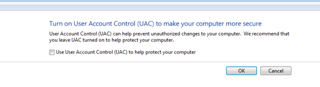 Turn on UAC to make your computer more secure