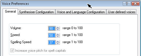 Screenshot of the version 11.50 Voice Preferences Dialog that contains the Spelling speed options