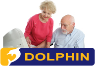 Dolphin logo and elderly couple at a computer