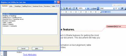 A screenshot of the Dolphin List Utility in action in Word. The Summary Tab sheet is showing that there are 8 links, 16 headings, 5 spelling errors, 5 grammar errors, 0 revisions, 1 tables, 0 objects, 1 comment.