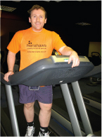 Image of Neil Kynaston stood on a treadmill in his local gym