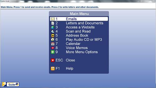 Screenshot of the Dolphin Theme on Guide's main menu