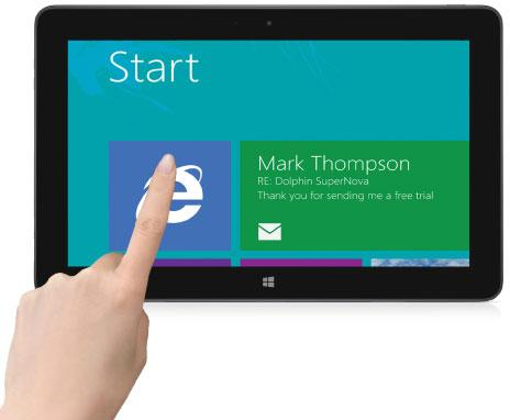 SuperNova magnifying Windows 8 start screen on a tablet