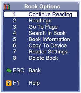 Guide Book options menu
