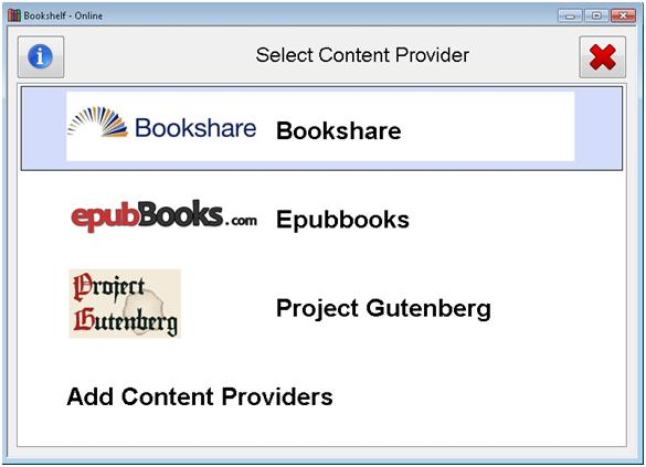 "SuperNova ""Select Content Provider"" dialog. Libraries include Bookshare, ePubBooks and Gutenberg"