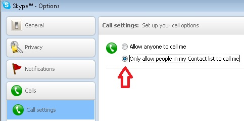 Skype Options Screenshot.  Arrow points to Only allow people in my contact list to call me.