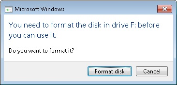 Microsoft Windows dialog box asking if the user wnats to format a device