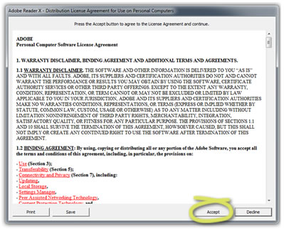 Screenshot of the Terms and Conditions window which pops up when you open Adobe Reader