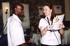 Photo of Rachel Bagust at our stand in Kenya