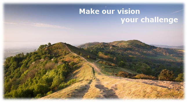 image of malverns with tagline 'make our vision your challenge'