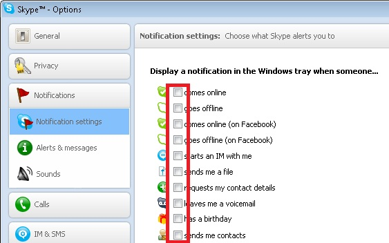 Skype Options screenshot.  All options are highlighted.