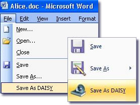 Word 2003 and Word 2007 Save As DAISY menu options