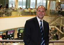 Photo of Sir Steve Redgrave at the BBC news office in London