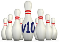 Image of 10 ten pin bowling skittles with v10 printed on the front pin