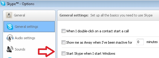Skype Options screenshot. Arrow points to
