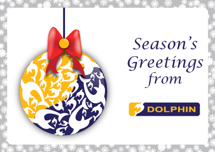 Dolphin's Christmas bauble with Season's greetings from Dolphin message