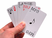 A selection of playing cards with various altformats detailed on each