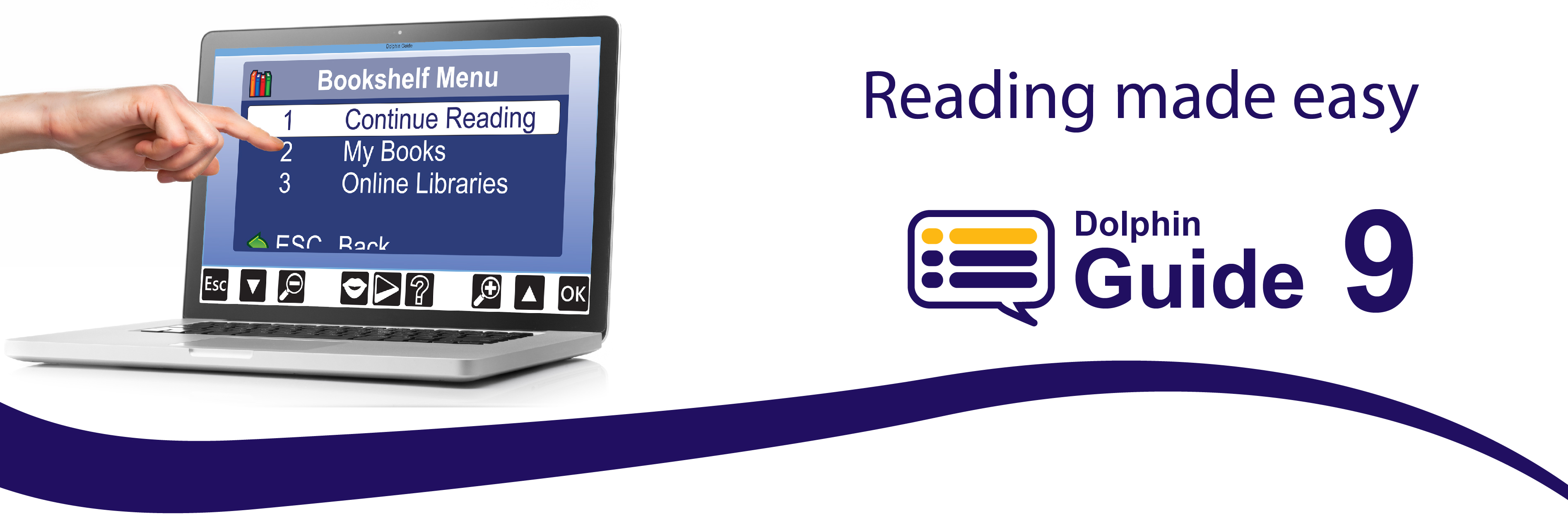 "Guide Bookshelf menu displayed on a touch screen with keyboard. Text reads ""Reading made easy"" with Guide 9"