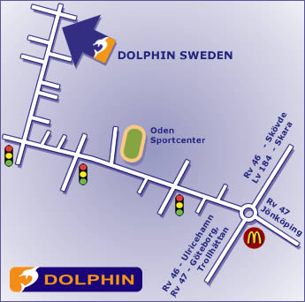 Map showing location of Dolphin Sweden Office