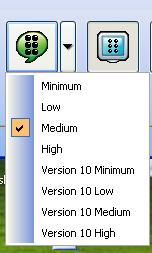 A screenshot of the new Braille verbosity button and pull down menu that show the Minimum, Low, Medium, High, Version 10 Minimum, Version 10 Low, Version 10 Medium and Version 10 High Verbosity schemes.